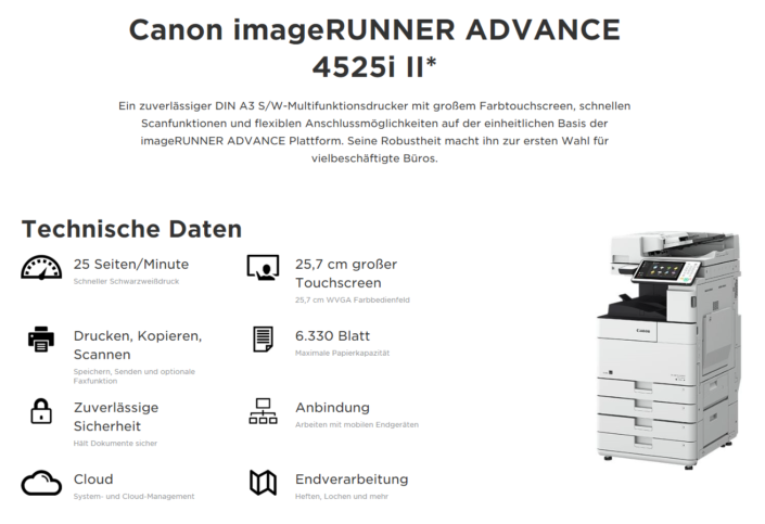 Canon iR ADVANCE 4525i Übersicht