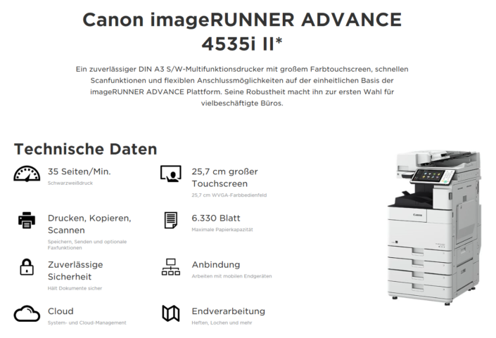 Canon iR ADVANCE 4535i Übersicht