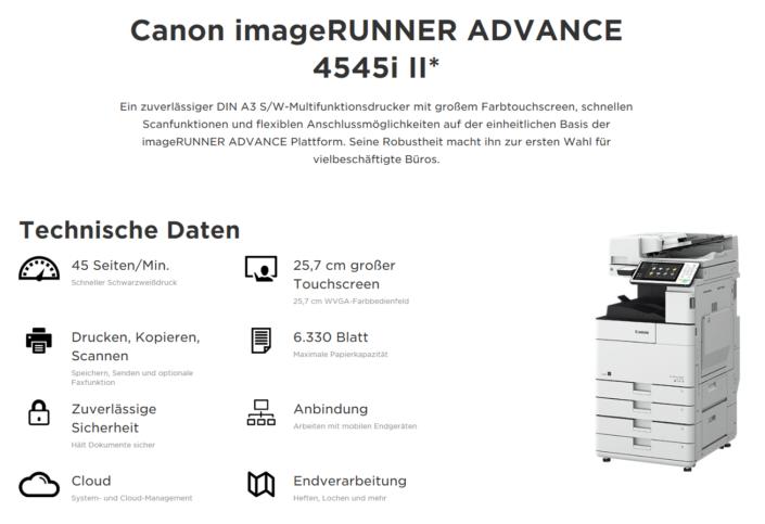 Canon iR ADVANCE 4545i Übersicht
