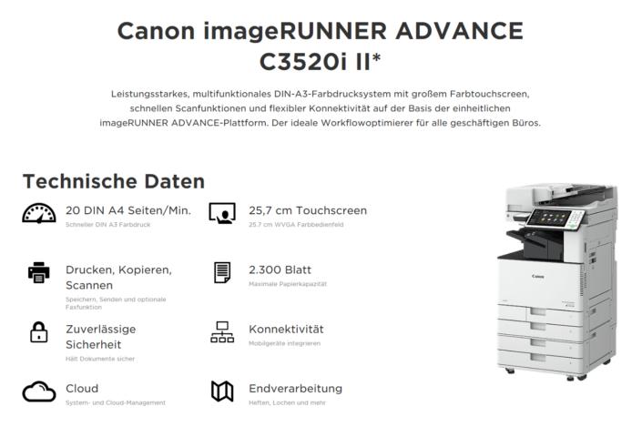 Farbkopierer MFP Canon iR ADVANCE C5540i Übersicht