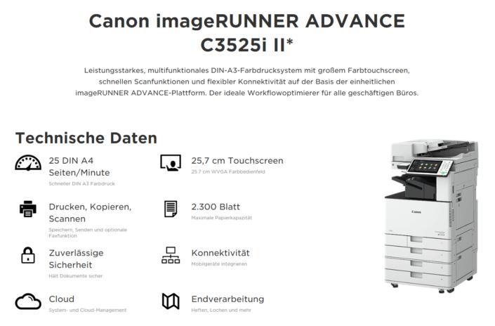 Canon iR ADVANCE C 3520 C 3525i C 3530i Übersicht