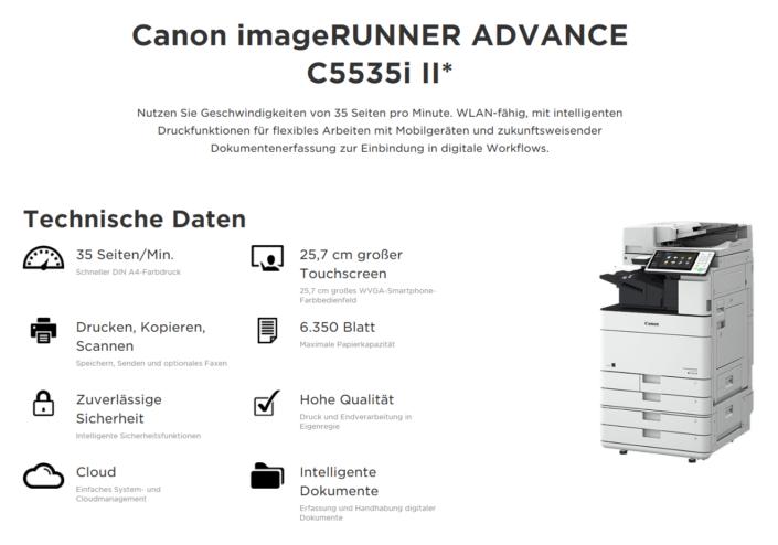 Canon iR ADVANCE C5535i Übersicht