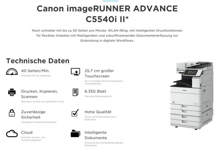 Canon iR ADVANCE C5540i Übersicht