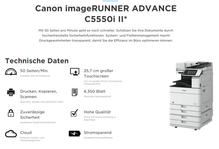 Canon iR ADVANCE C5550i Übersicht