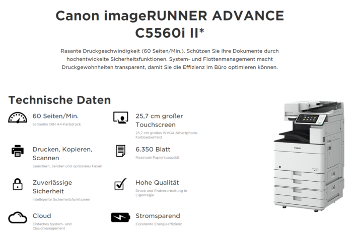 Canon iR ADVANCE C5560i Übersicht