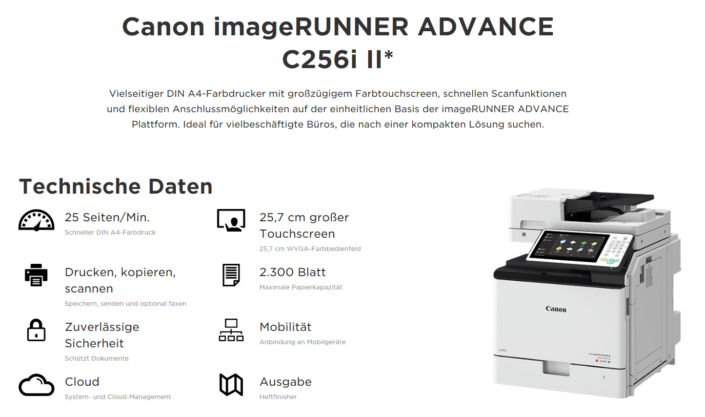 Canon iR ADVANCE C256i II Übersicht