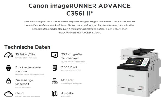 Canon iR ADVANCE C356i II Übersicht